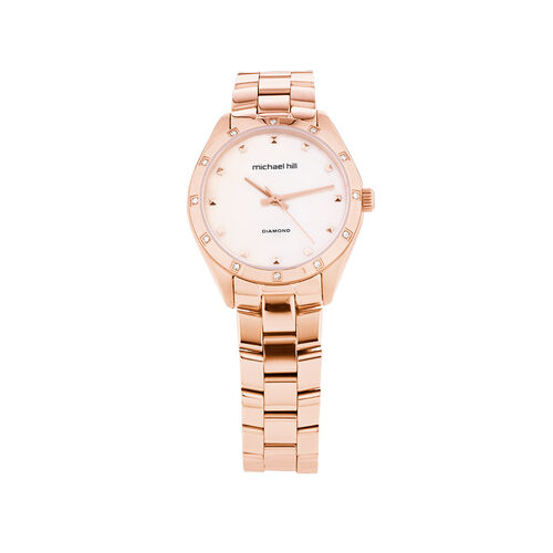 Watch With 0.12 Carat TW of Diamonds In Rose Tone Stainless Steel