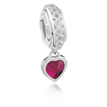 Sterling Silver July Heart Charm