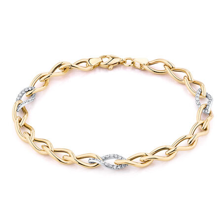"19cm (7.5"") Fancy Bracelet with Cubic Zirconia in 10ct Yellow Gold"