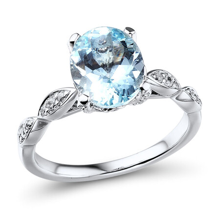 Ring with Aquamarine & 0.23 Carat TW of Diamonds in 10ct White Gold