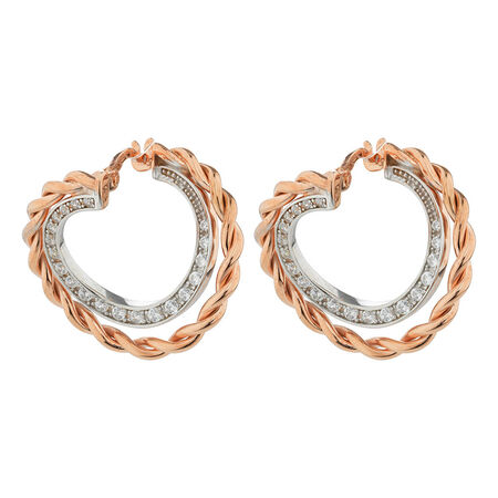 Online Exclusive - Twist Hoops with Cubic Zirconia in 10ct Rose & White Gold