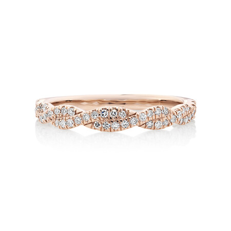 Evermore Twist Wedding Band with 0.20 Carat TW of Diamonds in 10ct Rose Gold