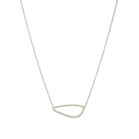 Organic Shape Pendant with Cubic Zirconia in Sterling Silver