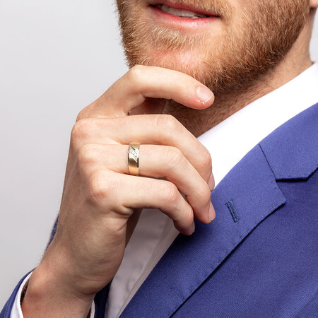 Men's Three Stone Ring with Diamonds in 10ct Yellow Gold