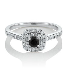 Square Double Halo Ring with 0.30 Carat TW of Diamonds & Black Sapphire in 10ct White Gold
