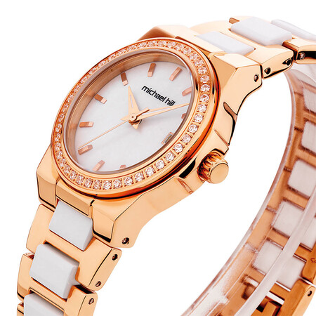 Ladies Watch with Crystals in White Ceramic & Rose Tone Stainless Steel