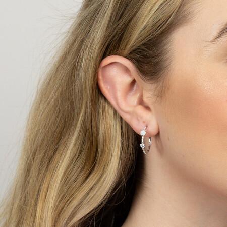 Hoop Earrings with Created Opal & Cubic Zirconia in Sterling Silver
