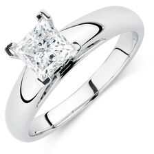 Certified Solitaire Engagement Ring with a 0.95 Carat Diamond in 14ct White Gold