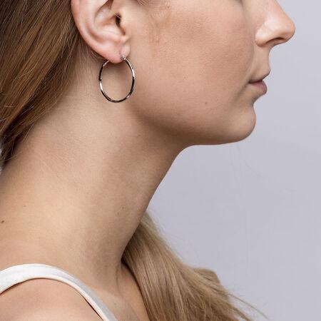 25mm Square Twist Hoop Earrings in Sterling Silver