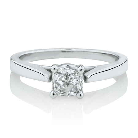 Online Exclusive - Certified Solitaire Ring with a 0.95 TW Diamond in 14ct White Gold