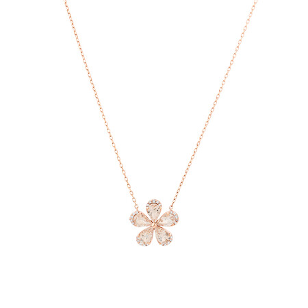 Flower Pendant with Morganite And Diamonds in 10ct Rose Gold