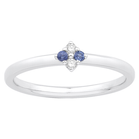 Stacker Ring with Created Sapphire & Diamond in 10ct White Gold