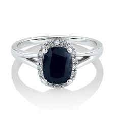 Ring with Natural Blue Sapphire & Diamonds in 10ct White Gold