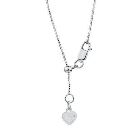 "50cm (20"") Adjustable Box Chain in 10ct White Gold"