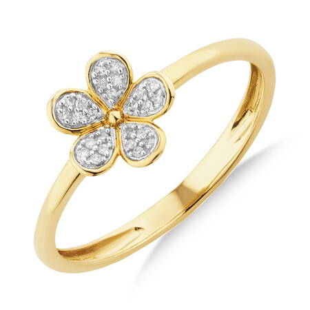 Flower Ring with Diamonds in 10ct Yellow Gold