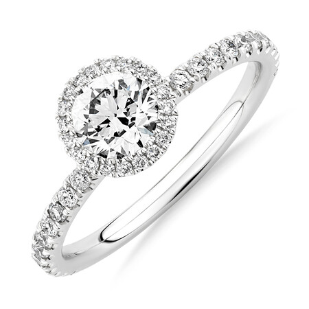 Sir Michael Hill Designer Halo Engagement Ring with 1.0 Carat TW of Diamonds in 18ct White Gold