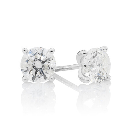 Solitaire Earrings with 1.40 Carat TW of Diamond in 14ct White Gold