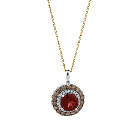 Pendant with Garnet & 0.75 Carat TW of White & Brown Diamonds in 14ct White Gold