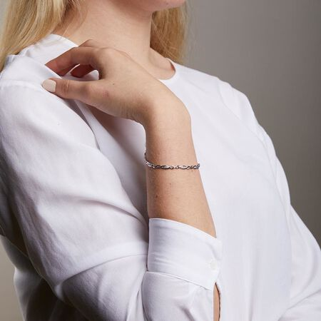 Twist Link Bracelet with Diamonds in Sterling Silver