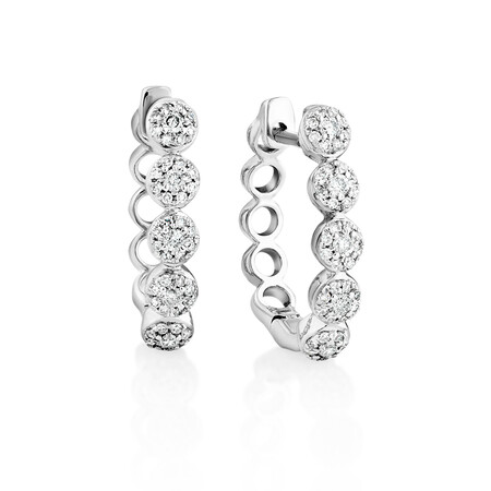 Bubble Huggie Earrings with 0.25 Carat TW of Diamonds in 10ct White Gold