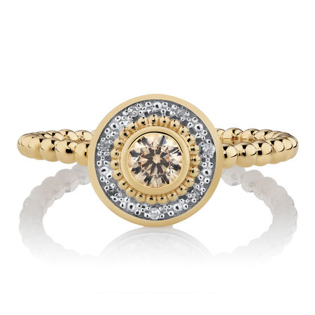 Diamond Set Stacker Ring with Champagne Cubic Zirconia in 10ct Yellow Gold