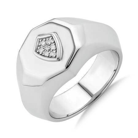 Shield Ring with Diamonds in Sterling Silver