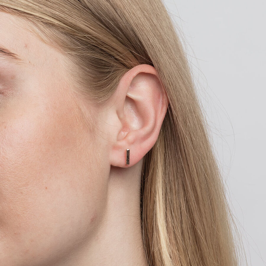 Bar Stud Earrings in 10ct Rose Gold