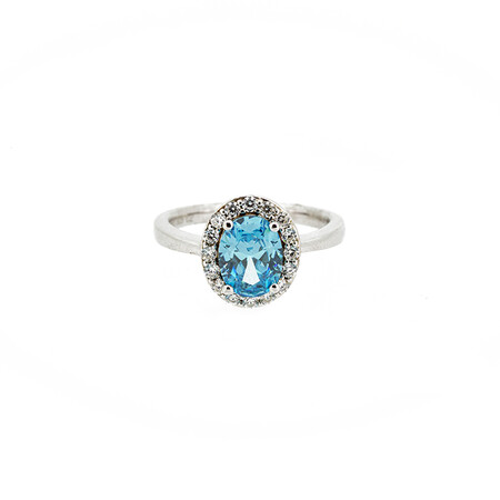 Ring with Sky Blue and White Cubic Zirconia in Sterling Silver