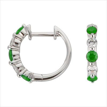 Mini Hoop Earrings with Natural Emerald & 0.19 Carat TW of Diamonds in 10ct White Gold