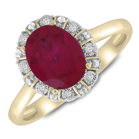 Ring with Created Ruby & Diamond in 10ct Yellow Gold
