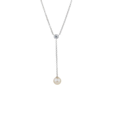 Online Exclusive - Y Necklace with Cultured Freshwater Pearl & Cubic Zirconia in Sterling Silver