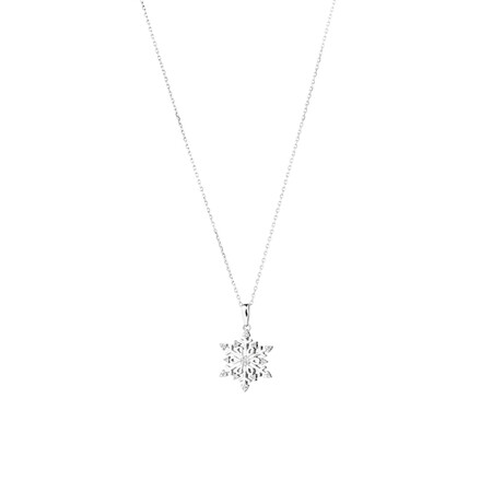 Snowflake Pendant with Diamonds in Sterling Silver