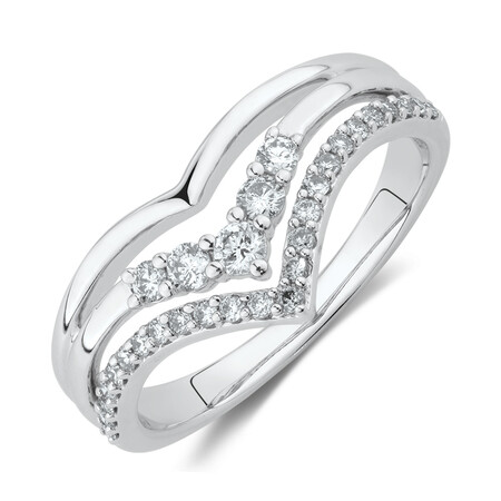 Chevron Ring with 0.34 Carat TW of Diamonds in 10ct White Gold