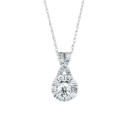 Michael Hill Designer Allegro Pendant with 1/2 Carat TW of Diamonds in 14ct White & Rose Gold