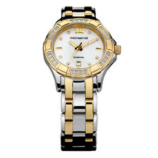 Ladies Watch with Diamonds & Mother of Pearl in Silver & Gold Tone Stainless Steel