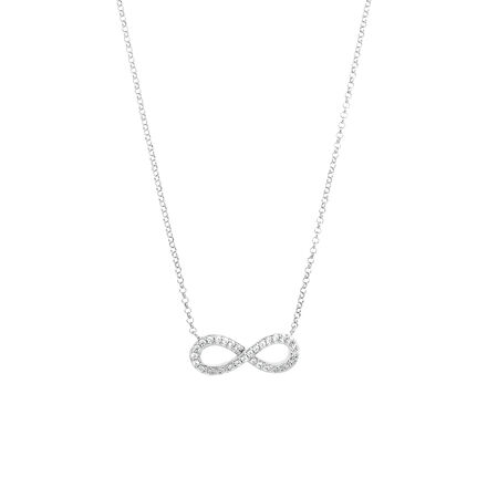 Infinity Pendant with Cubic Zirconia in Sterling Silver with Chain