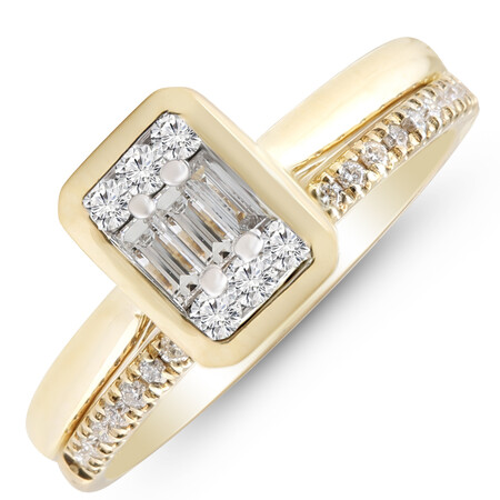Bridal Set with 0.40 Carat TW of Diamonds in 10ct Yellow Gold