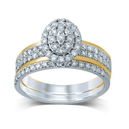 Bridal Set with 3/4 Carat TW of Diamonds in 14ct Yellow & White Gold