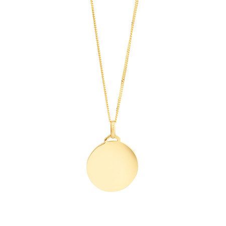 Disc Pendant In 10kt Yellow Gold