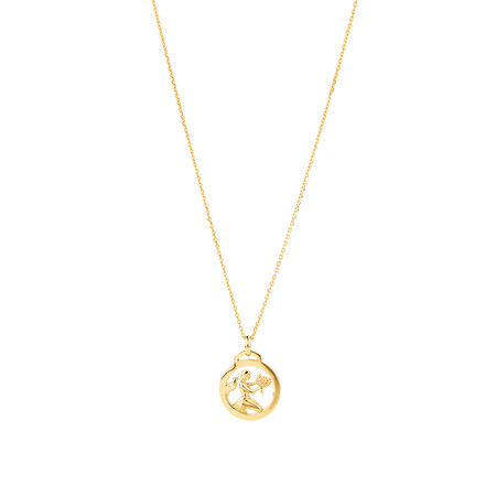 Zodiac Pendant with Chain in 10kt Yelow Gold