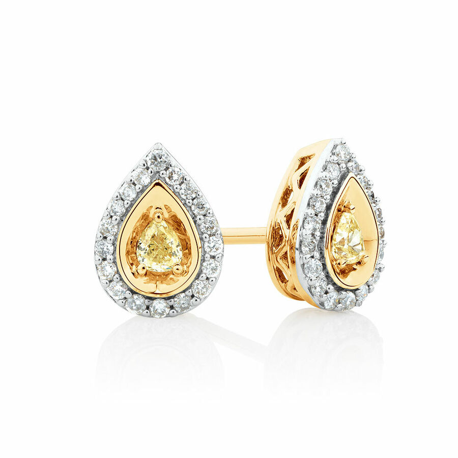 Pear Stud Earrings with 0.30 Carat TW of Natural Yellow & White Diamonds in 10ct Yellow Gold