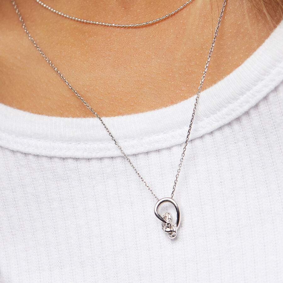 Mini Knots Necklace With Diamonds In Sterling Silver