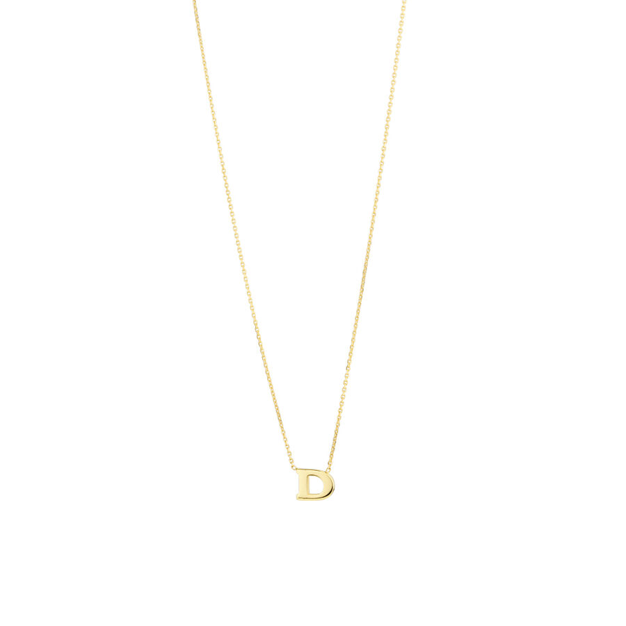 """D"" Initial Necklace in 10ct Yellow Gold"