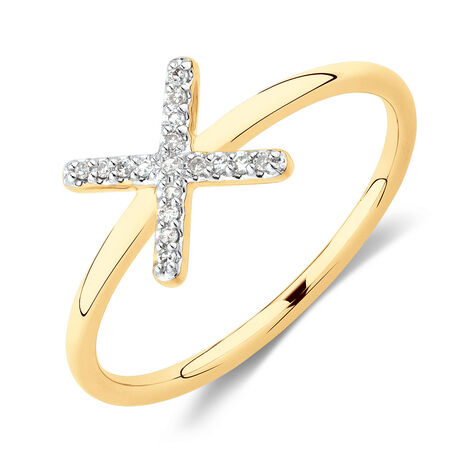 X Ring with Diamonds in 10ct Yellow Gold