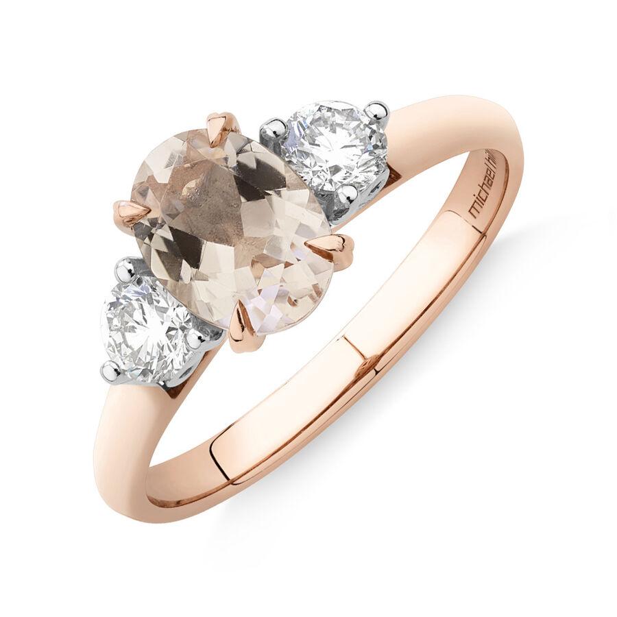 Ring with Morganite & 0.40 Carat TW ofDiamondsin 10ct Rose Gold