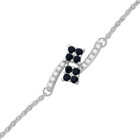 Bracelet with Sapphire and Diamond in 10ct White Gold