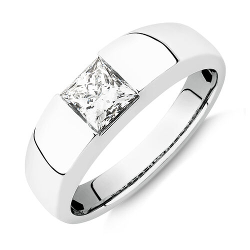 Laboratory-Created 1 Carat Men's Ring in 14ct White Gold