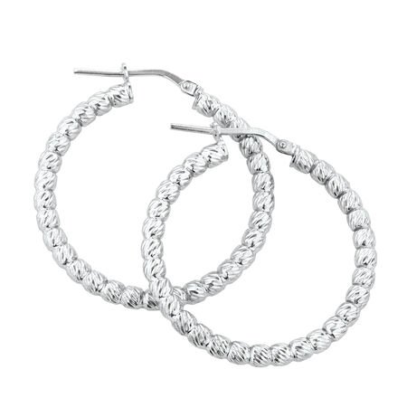 Bead Hoop Earrings in Sterling Silver