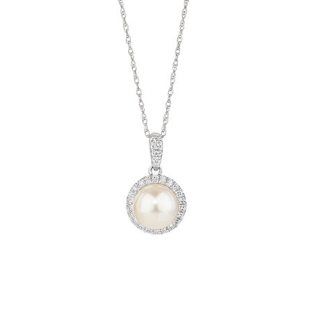 Pendant with 0.10 Carat TW of Diamonds, Pink Sapphire & Cultured Freshwater Pearl in 10ct Rose & White Gold