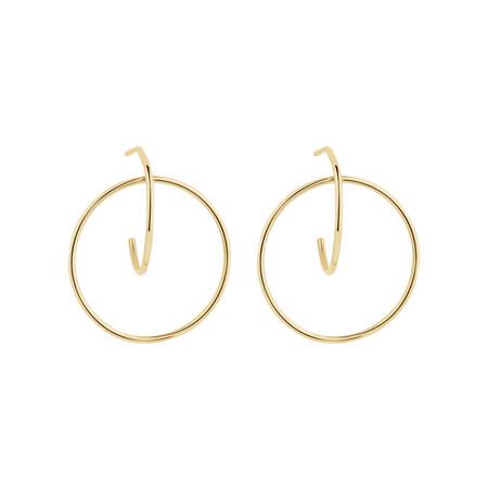 Circle Loop Earrings in 10ct Yellow Gold